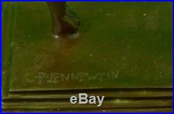 Hand Made BRONZE SCULPTURE STATUE Art Nouveau Signed Jennewein Ribbon Decor Deal