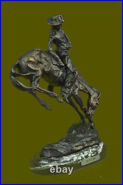 Hand Made Bronco Buster Frederic Remington Bronze Statue Cowboy Horse Sculpture