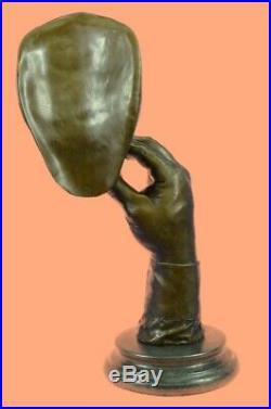 Hand Made Bronze A man smoking a cigar statue marble base hand made figurine Art