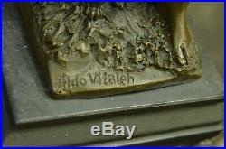 Hand Made Bronze Diana Huntress dog statueDiana with Dachshund Signed Vitaleh