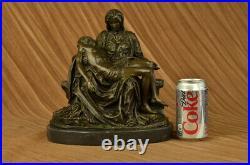 Hand Made Bronze Figurine Religious Michelangelo Pieta Jesus Mary Statue Figure
