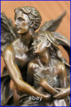 Hand Made Bronze Marble Statue Cupid Psyche Eros Aphrodite Venus Winged Angels