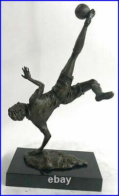 Hand Made Bronze Sculpture Football Soccer player Trophy Statue on Marble Base