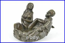 Hand Made Bronze Sculpture Satyr Nude Nymph statue, signed Odegaard Figure DEAL