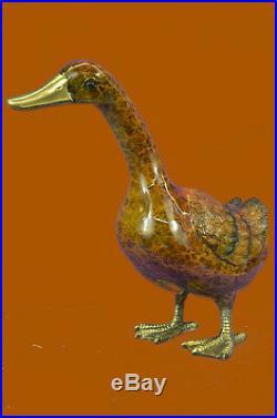 Hand Made Bronze Sculpture Statue Art Decor Duck Multi Color Patina Figure