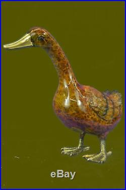Hand Made Bronze Sculpture Statue French Artist Mogniez Duck Decks Bird