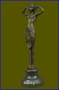 Hand Made Bronze Statue Demetre Chiparus Elegant Sitting Dance Sculpture