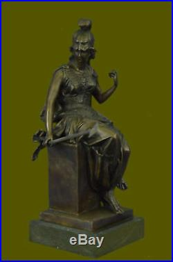 Hand Made Bronze Statue Greek Roman Goddess of War Marble Base Figurine UG