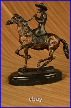 Hand Made C. M. Thomas Cowboy on horse batteling Stallion Bronze Statue