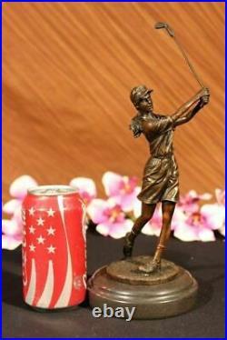Hand Made Collector Edition Woman Golfer Golf Trophy Bronze Sculpture Statue Art