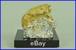 Hand Made Copper Bronze 24K Gold Carved Figurine Tiger Statue Sculpture Hot Cast