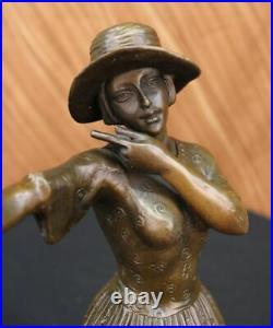 Hand Made Dancer Signed Chiparus 100% Pure Hotcast Bronze Statue Figurine Figure