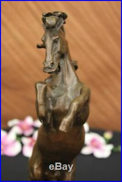 Hand Made Deco Rearing Horse Bronze Sculpture Marble Base Statue Decor Large Art