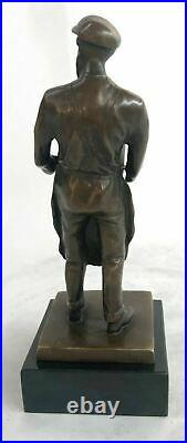 Hand Made Detailed Art Deco Old Man with a Trash Can Bronze Sculpture Statue
