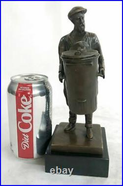 Hand Made Detailed Art Deco Old Man with a Trash Can Bronze Sculpture Statue NR