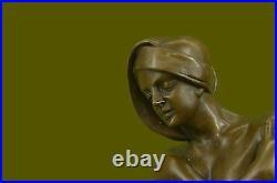 Hand Made Detailed Man Hawaiian Performer Dancer Cast Bronze Sculpture Statue