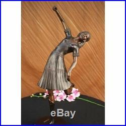 Hand Made Egyptian Lady Dancer Chiparus Statue Figurine Bronze Sculpture Figurin