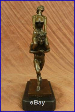 Hand Made Female Nude Satyr Mystic God Art Bronze Marble Statue Bergman Figurine