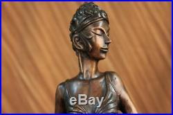 Hand Made Flower Woman Blossom Art Nouv Statue Figurine Bronze Sculpture