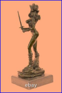 Hand Made Girl Lady Nude Soldier Warrior Sword Classic Bronze Marble Statue DEAL