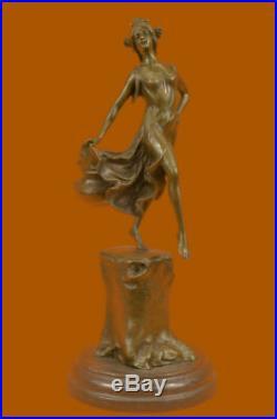 Hand Made Graceful Fairly Like Dance Statue Figurine Bronze Sculpture EX