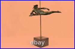 Hand Made Gymnast Olympic Memorabilia B Statue Figurine Bronze Base Sculpture