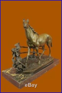 Hand Made Horse Stallion Horse Racing Trophy Bronze Sculpture Statue Decor Sale