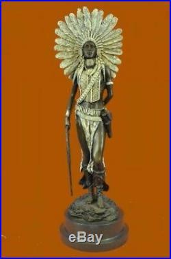 Hand Made Indian Native American Warrior Art Statue Figurine Bronze Sculpture