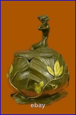 Hand Made Jugendstil Art Nouveau Nude Sig Statue Figurine Bronze Sculpture EX