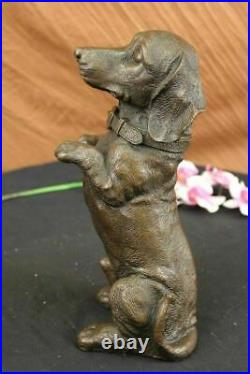 Hand Made Large Pup Hush Puppy dog Bronze Sculpture Statue Figurine Art Giftwork