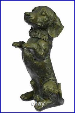 Hand Made Large Pup Hush Puppy dog Bronze Sculpture Statue Figurine Art Home Lrg