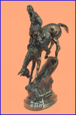 Hand Made Man Solid Bronze Collectible Sculpture Statue by Remington Figurine