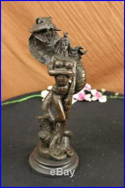 Hand Made Mythical Snake Lady Style Nude Female Sculpture Naked Statue Bronze