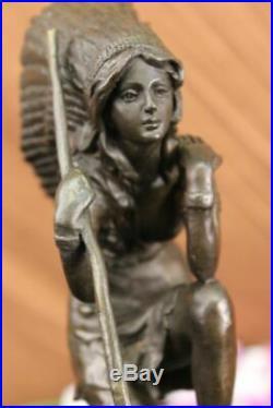 Hand Made Native American Indian Girl Art Statue Figurine Bronze Sculpture Gift