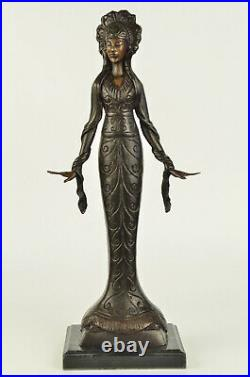 Hand Made Native American Indian Girl Dec Statue Figurine Bronze Sculpture SALE