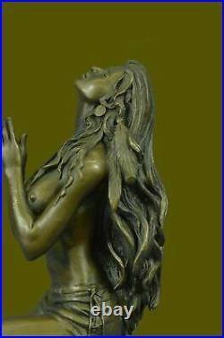 Hand Made Native American Indian Woman Statue Sculpture Figurine Bronze Art Deal