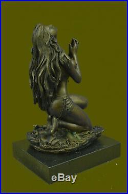 Hand Made Native American Indian Woman Statue Sculpture Figurine Bronze Art Deco