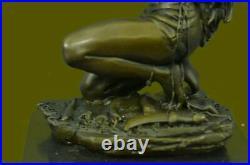 Hand Made Native American Indian Woman Statue Sculpture Figurine Bronze Art Gift