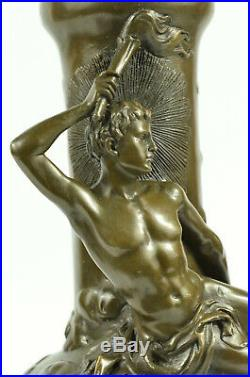 Hand Made Nude Male Mythical Olympian Bronze Sculpture Vase Statue Figure Art