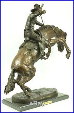 Hand Made Old West Cowboy on Horse Bronco Buster Bronze Masterpiece Statue Deal