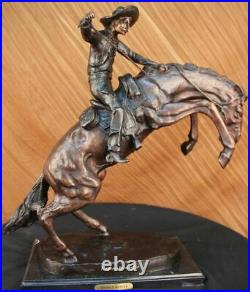 Hand Made Old West Cowboy on Horse Bronco Buster Bronze Masterpiece Statue Decor