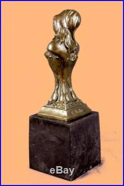 Hand Made PURE BRONZE FEMALE CLASSICAL PORTRAIT BUST SCULPTURE STATUE FIGURE