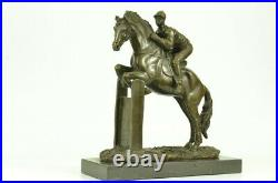 Hand Made PURE BRONZE HORSE AND JOCKEY RACEHORSE STATUE SCULPTURE LARGE NUMBER 7