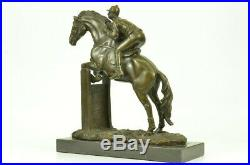 Hand Made PURE BRONZE HORSE JOCKEY RACEHORSE STATUE SCULPTURE LARGE NUMBER 7 ART