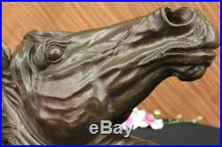 Hand Made PURE BRONZE MOUNTED SINGLE HORSE HEAD HORSE STATUE BUST SCULPTURE SALE