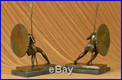 Hand Made Pair Samurai Warrior Bookends Book End Bronze Sculpture Statue Decor