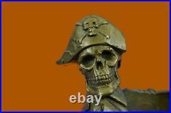 Hand Made Pirate Skeleton Wine Storage Holder Bronze Figure Deco Gift Statue