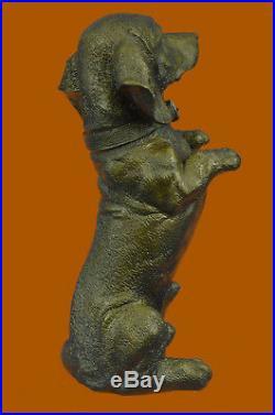 Hand Made Playful Dachshunds Dog Breeder Bronze Sculpture Art Statue Figurine