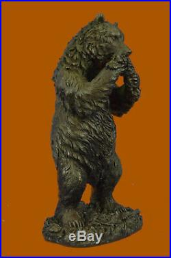 Hand Made Roaring Black Bear Lover Collector Bronze Decor Statue Bookend Gift