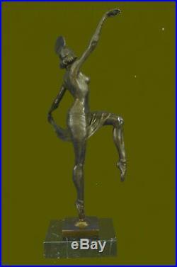 Hand Made Russian Dancer Art Décor Bronze Sculpture Marble Base Statue UG